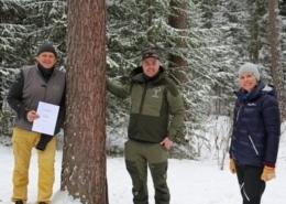T.v. Daglig leder i Skogselskapet i Oppland Ola Gram Dæhlen, daglig leder i Skogselskapet i Hedmark Knut Arne Gjems og markedssjef Ingvild Keller i BoligPartner.